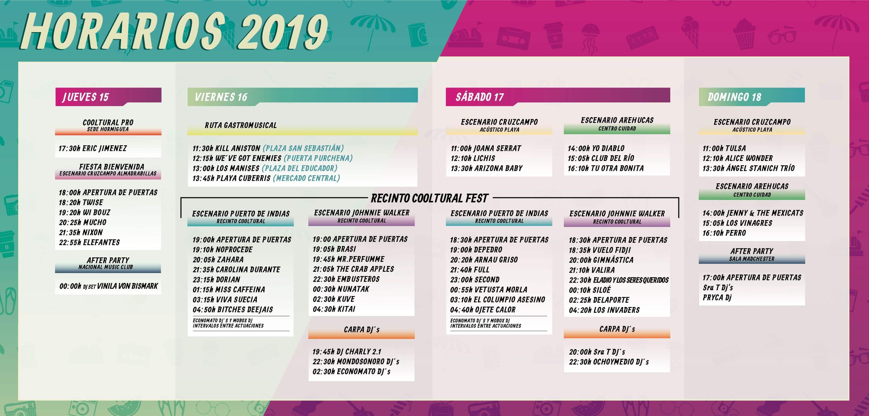 Horarios Cooltural Fest