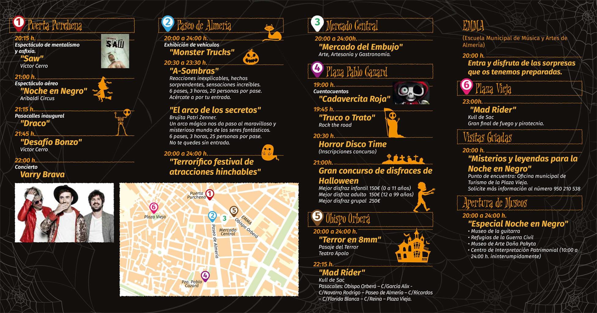Programación actividades La Noche en Negro Almería 2019